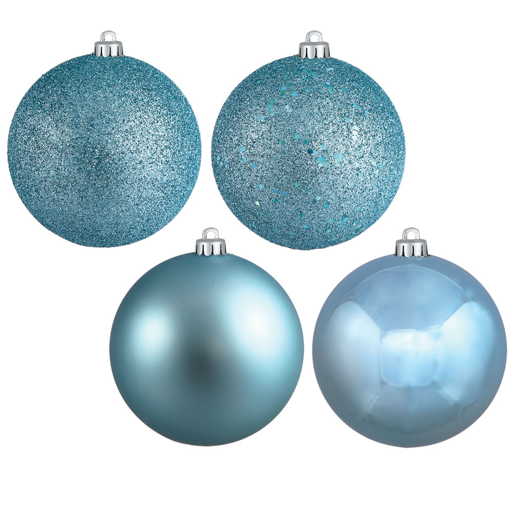 12 Inch Baby Blue Round Christmas Ball Ornament Shatterproof Set of 4 Assorted Finishes