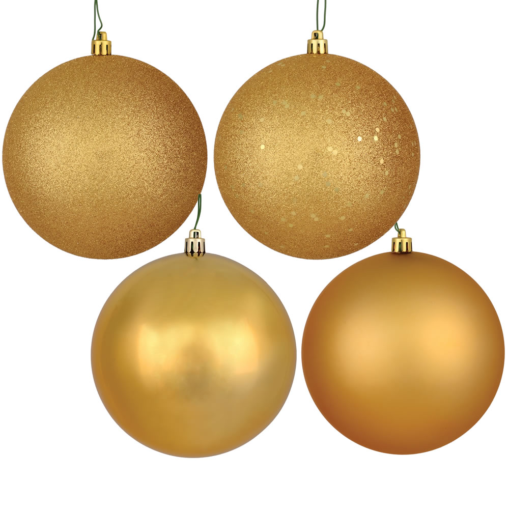 12 Inch Copper Gold Round Christmas Ball Ornament Shatterproof Set of 4 Assorted Finishes