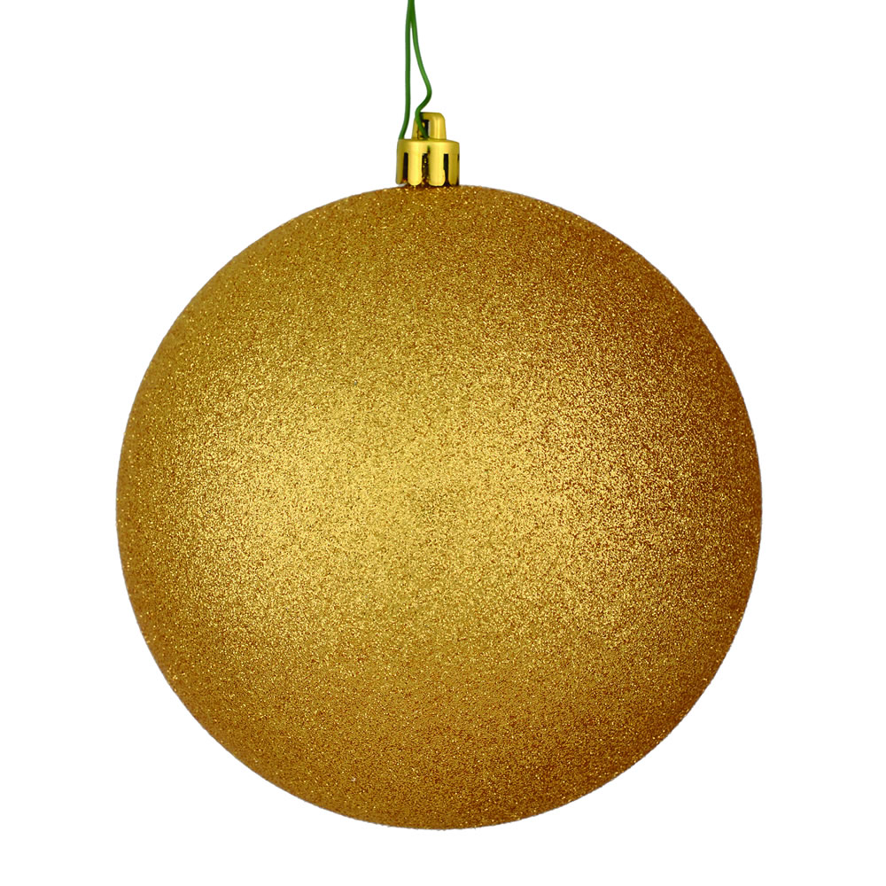12 Inch Copper Gold Glitter Christmas Ball Ornament with Drilled Cap