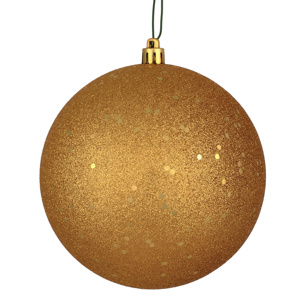 12 Inch Copper Gold Sequin Christmas Ball Ornament with Drilled Cap