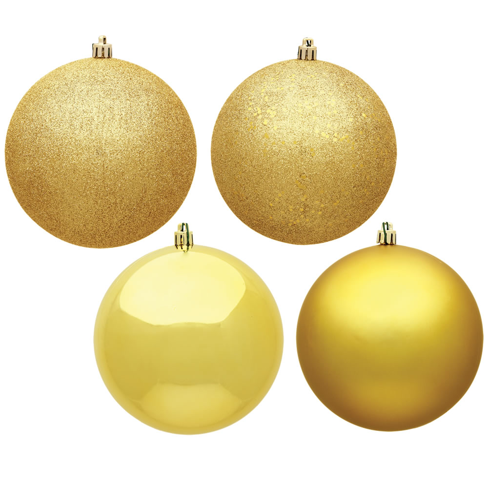 12 Inch Honey Gold Round Christmas Ball Ornament Shatterproof Set of 4 Assorted Finishes