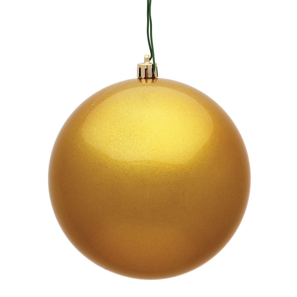 12 Inch Honey Gold Candy Round Christmas Ball Ornament Shatterproof UV