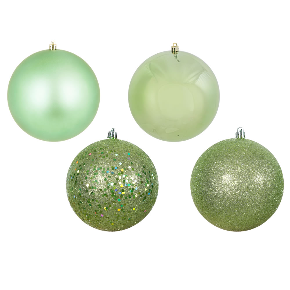 12 Inch Celadon Green Round Christmas Ball Ornament Shatterproof Set of 4 Assorted Finishes