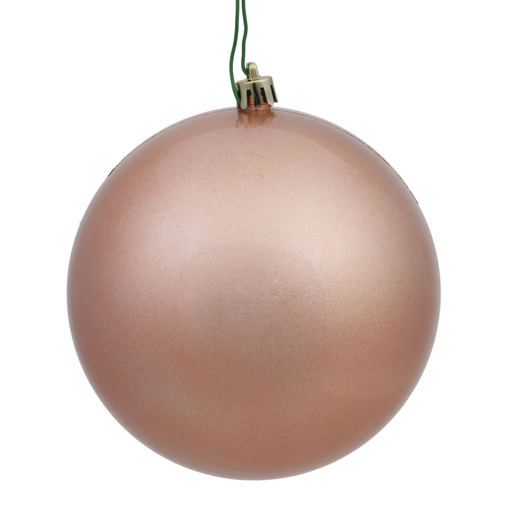 12 Inch Rose Gold Candy Round Christmas Ball Ornament Shatterproof UV