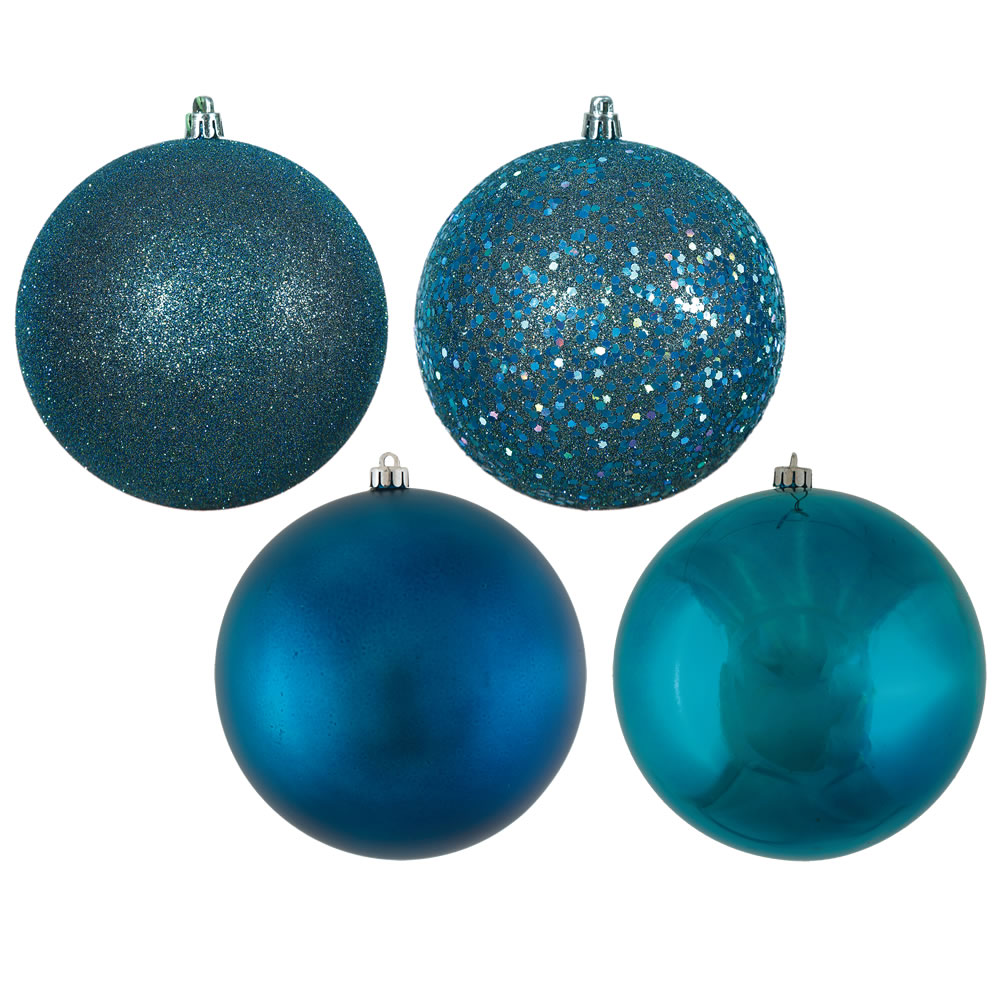 12 Inch Sea Blue Round Christmas Ball Ornament Shatterproof Set of 4 Assorted Finishes