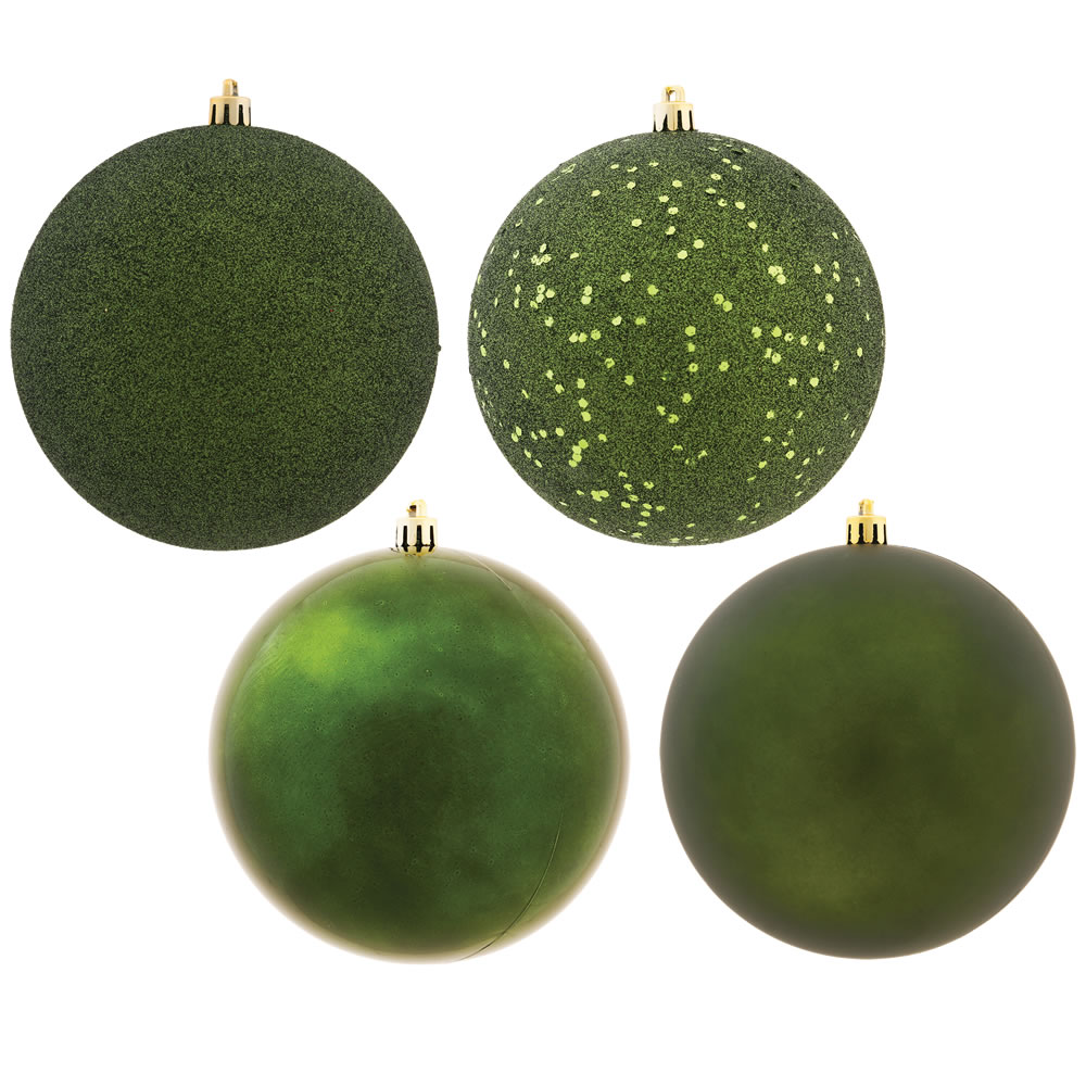 12 Inch Moss Green Round Christmas Ball Ornament Shatterproof Set of 4 Assorted Finishes