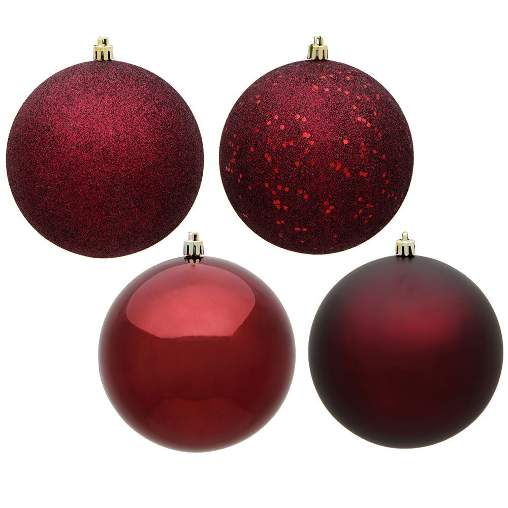 12 Inch Burgundy Round Christmas Ball Ornament Shatterproof Set of 4 Assorted Finishes