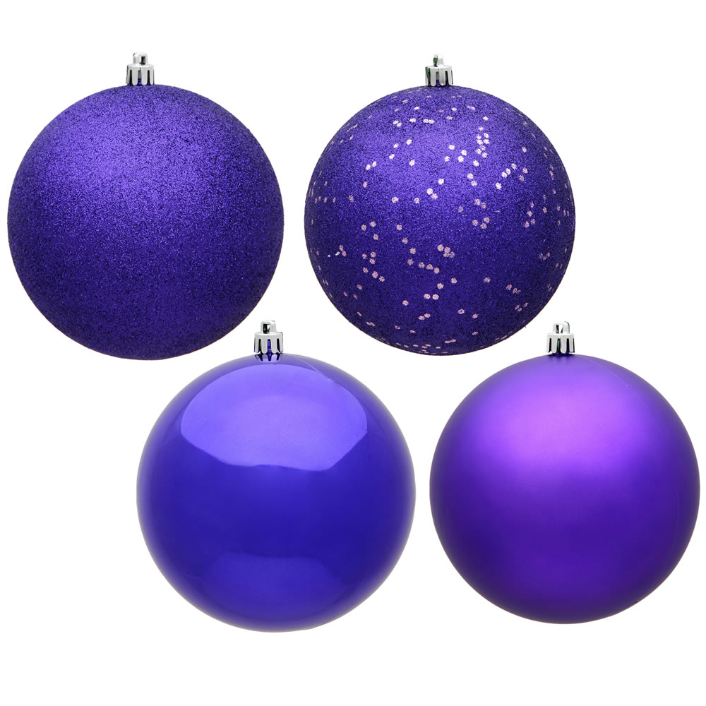 12 Inch Purple Round Christmas Ball Ornament Shatterproof Set of 4 Assorted Finishes