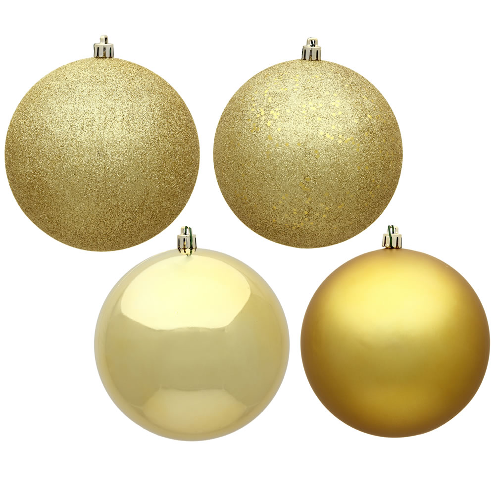 12 Inch Gold Round Christmas Ball Ornament Shatterproof Set of 4 Assorted Finishes