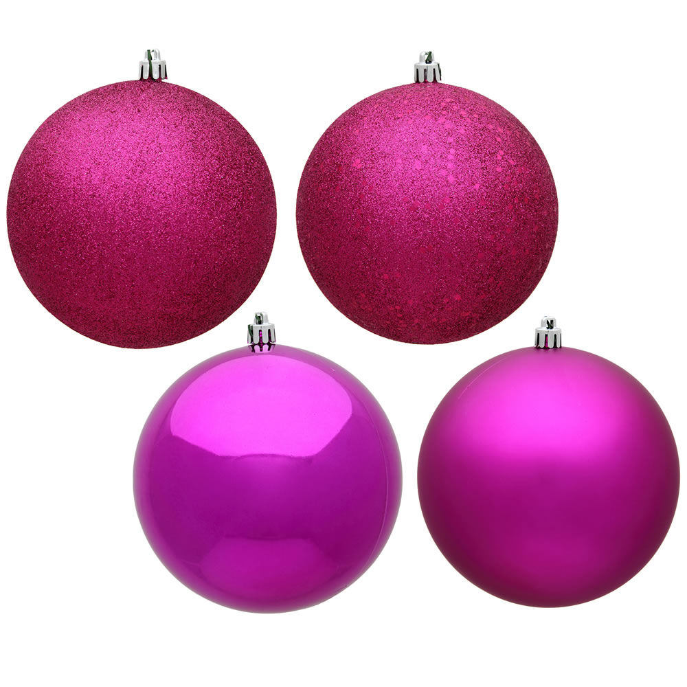 12 Inch Fuchsia Pink Round Christmas Ball Ornament Shatterproof Set of 4 Assorted Finishes