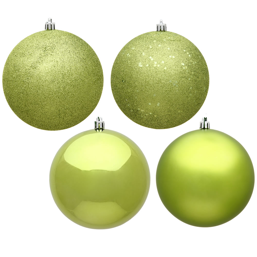 12 Inch Lime Green Round Christmas Ball Ornament Shatterproof Set of 4 Assorted Finishes