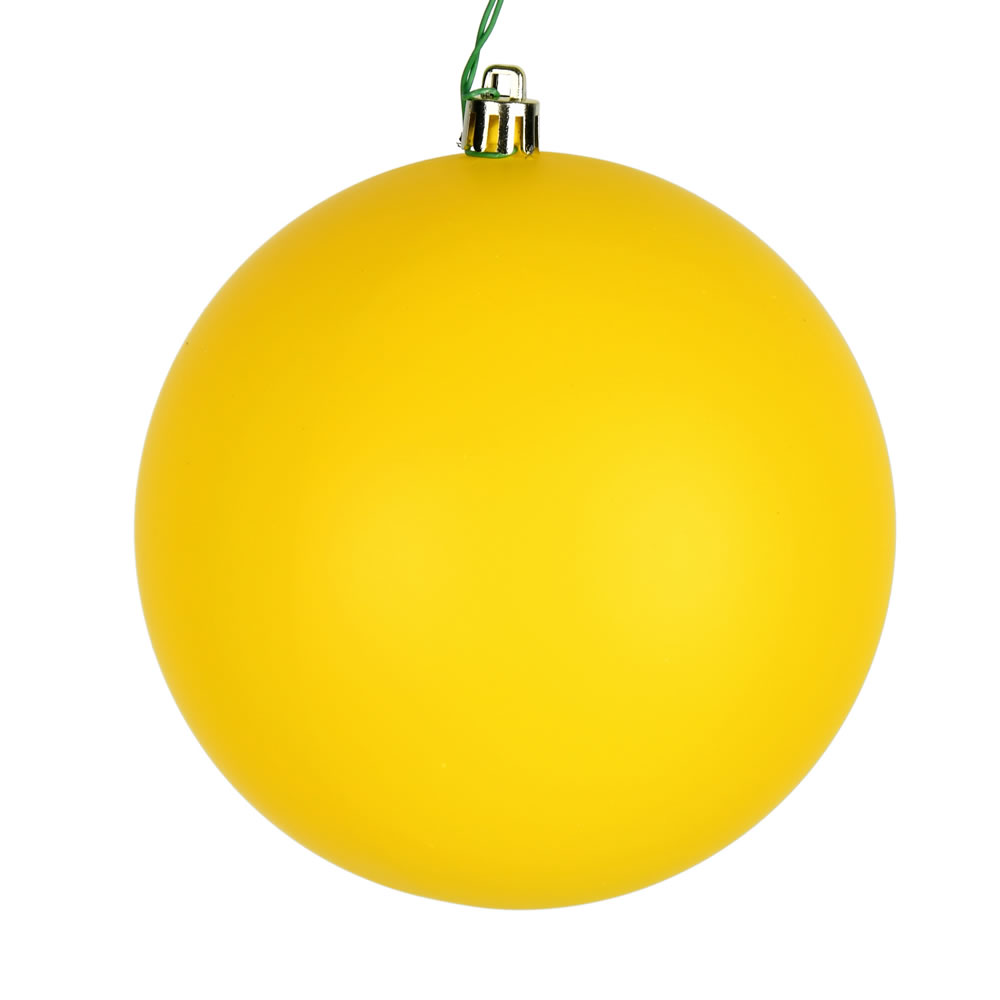 12 Inch Yellow Matte Christmas Ball Ornament with Drilled Cap