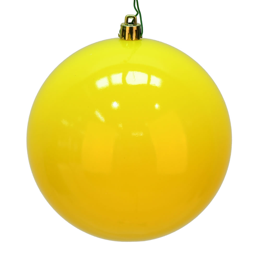 12 Inch Yellow Shiny Christmas Ball with Drilled Cap