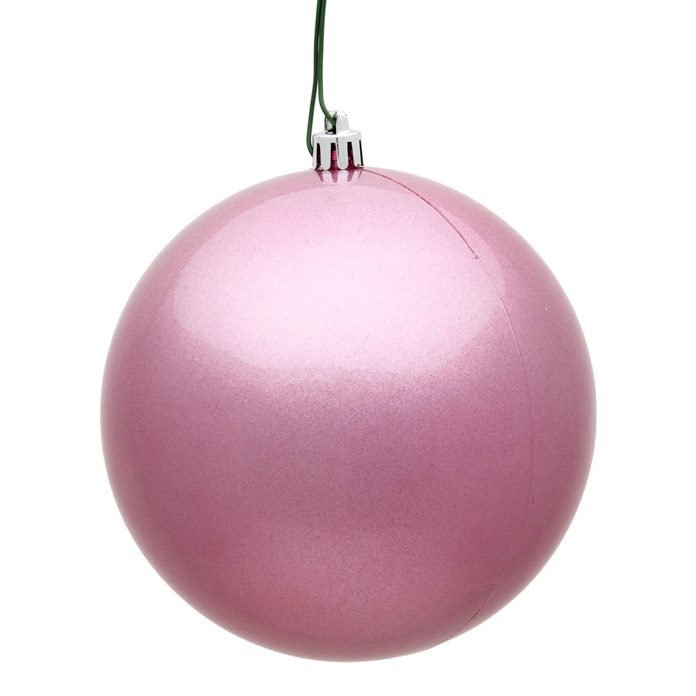 12 Inch Pink Candy Round Christmas Ball Ornament Shatterproof UV