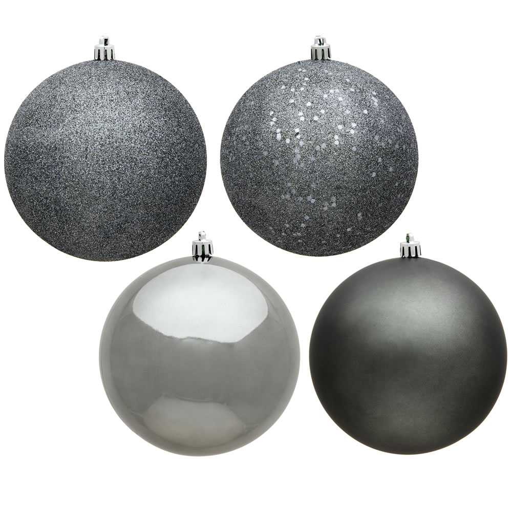 12 Inch Pewter Round Christmas Ball Ornament Shatterproof Set of 4 Assorted Finishes