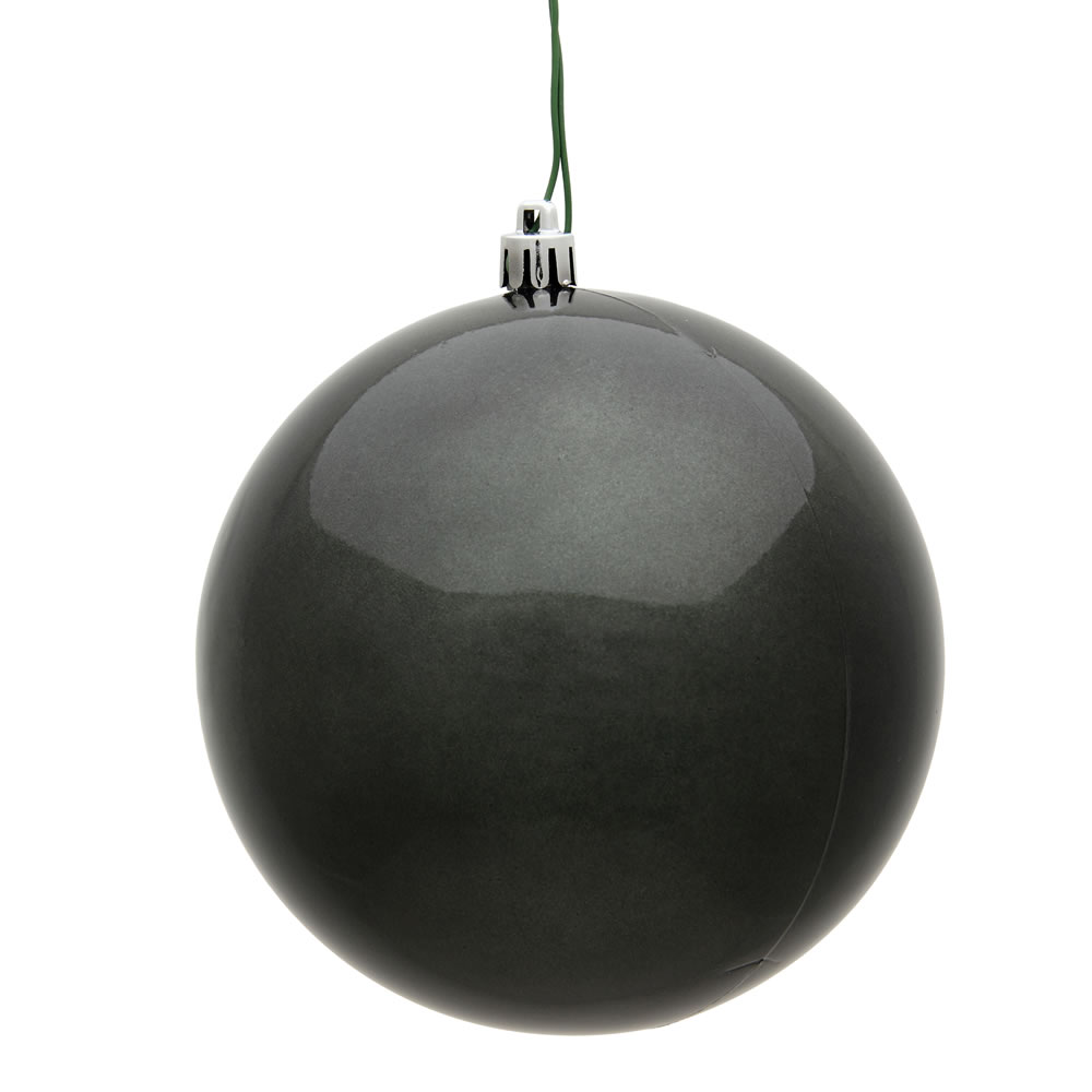 12 Inch Pewter Candy Round Christmas Ball Ornament Shatterproof UV