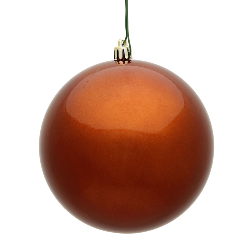 12 Inch Copper Candy Round Christmas Ball Ornament Shatterproof UV