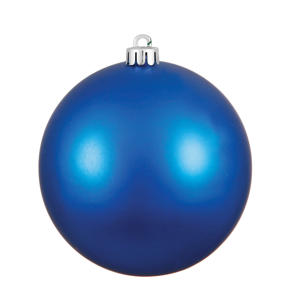 15.75 Inch Blue Matte Christmas Ball Ornament with Drilled Cap and UV Treated