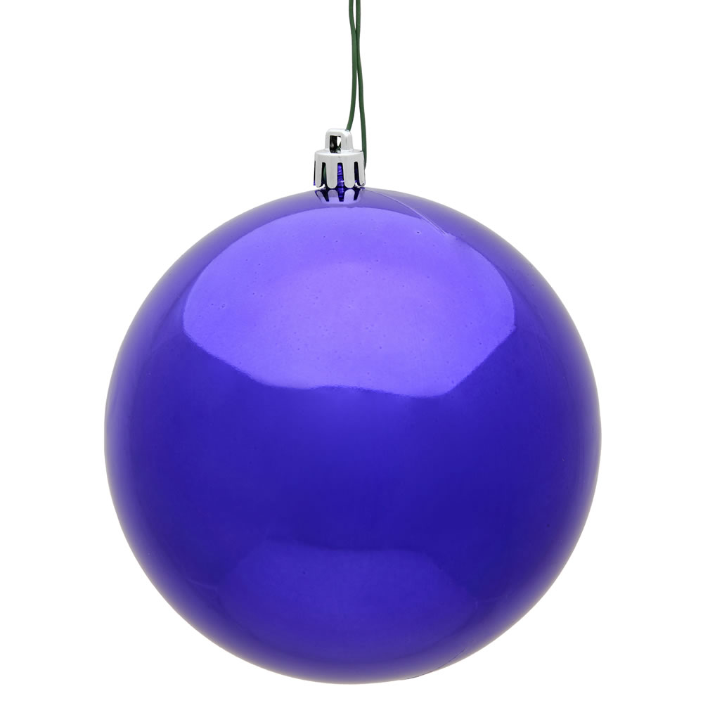 15.75 Inch Purple Shiny Christmas Ball Ornament with Drilled Wire Cap and UV  Treated