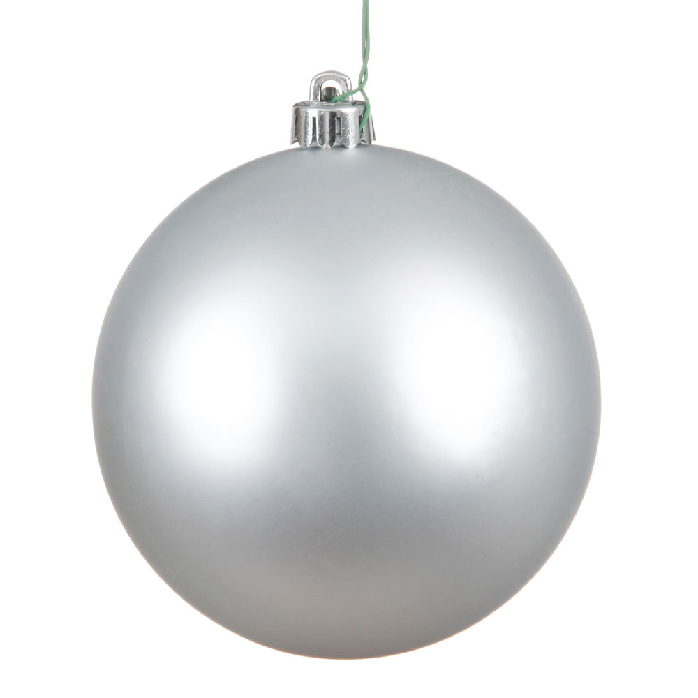 15.75 Inch Silver Matte Christmas Ball Ornament with Drilled Wire Cap and UV Treated