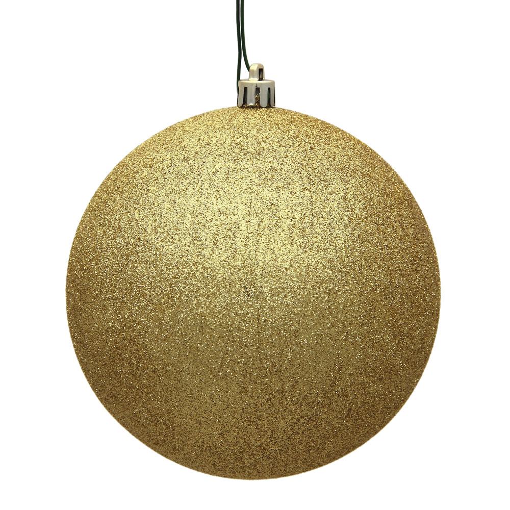 15.75 Inch Gold Glitter Christmas Ball Ornament with Drilled Wire Cap