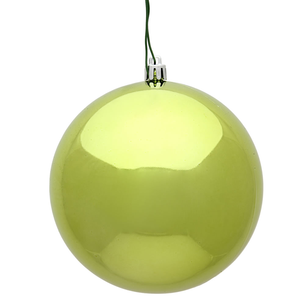 15.75 Inch Lime Shiny Christmas Ball Ornament with Drilled Wire Cap and UV Treated