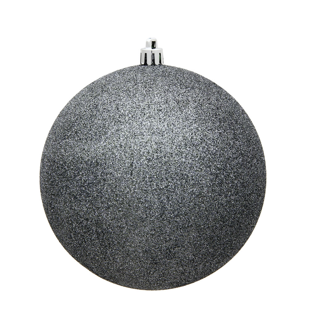 15.75 Inch Pewter Glitter Christmas Ball Ornament with Drilled Wire Cap