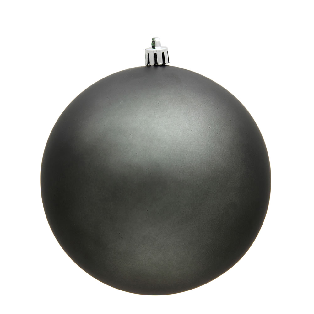 15.75 Inch Pewter Matte Christmas Ball Ornament with Drilled Wire Cap and UV Treated