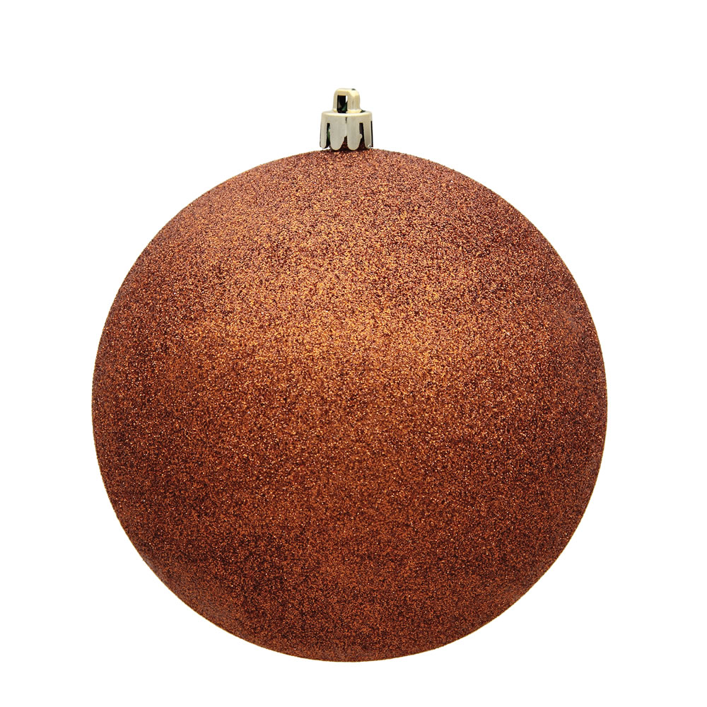 15.75 Inch Copper Glitter Christmas Ball Ornament with Drilled Wire Cap