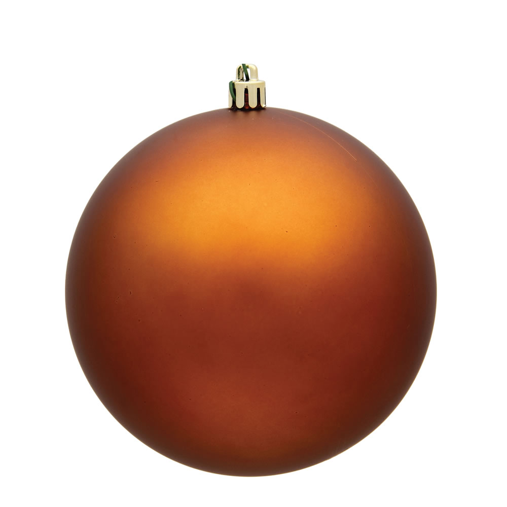 15.75 Inch Copper Matte Christmas Ball Ornament with Drilled Wire Cap and UV Treated