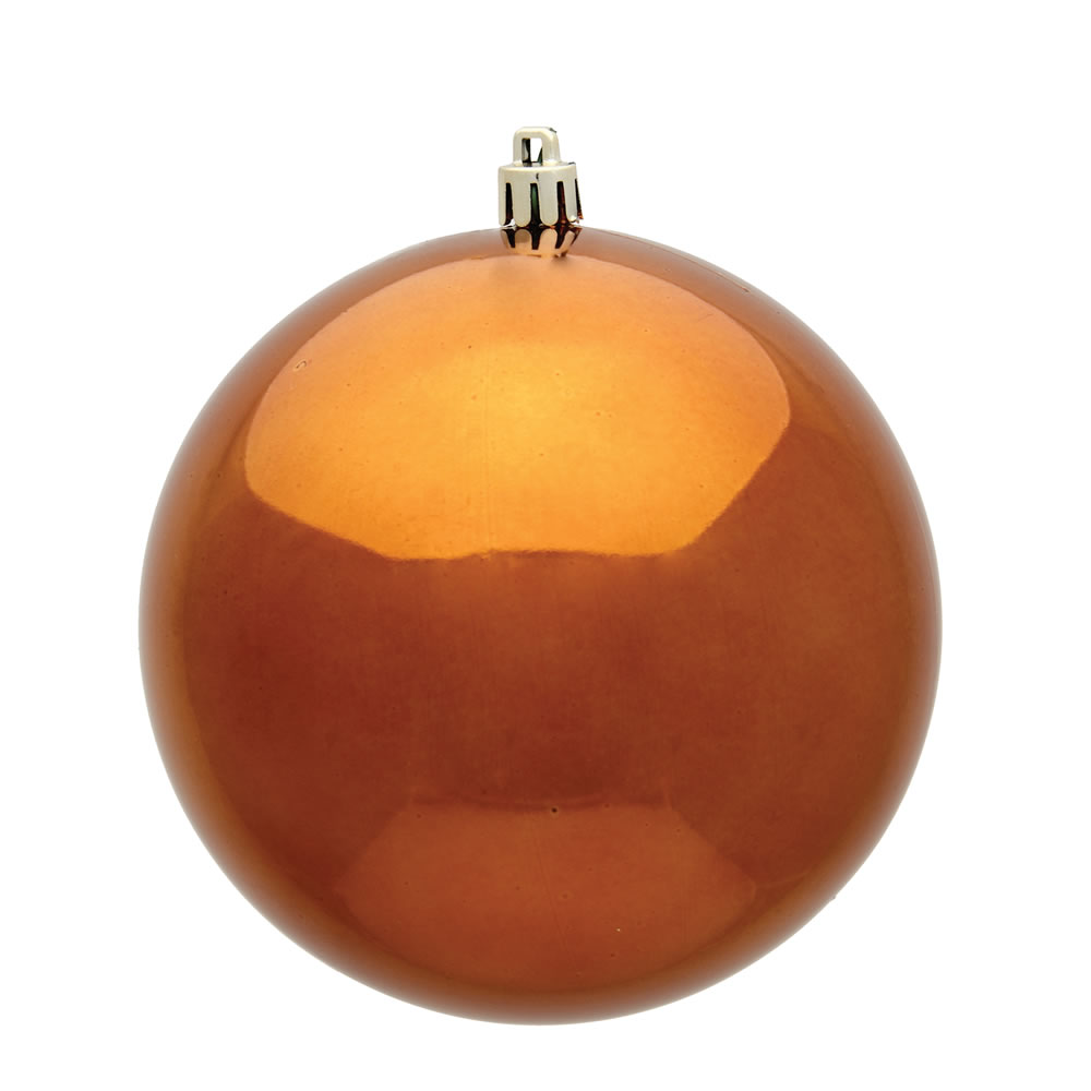 15.75 Inch Copper Shiny Christmas Ball Ornament with Drilled Wire Cap and UV Treated