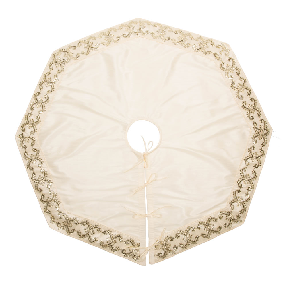 54 Inch Ivory Sequin Snowflake Decorative Christmas Tree Skirt