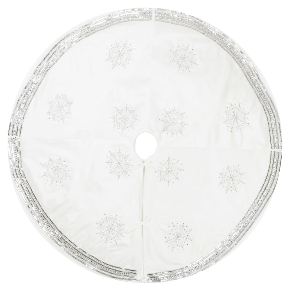 60 Inch Pure White Polysilk Dupioni Sequin/Beaded Snowflake Decorative Christmas Tree Skirt