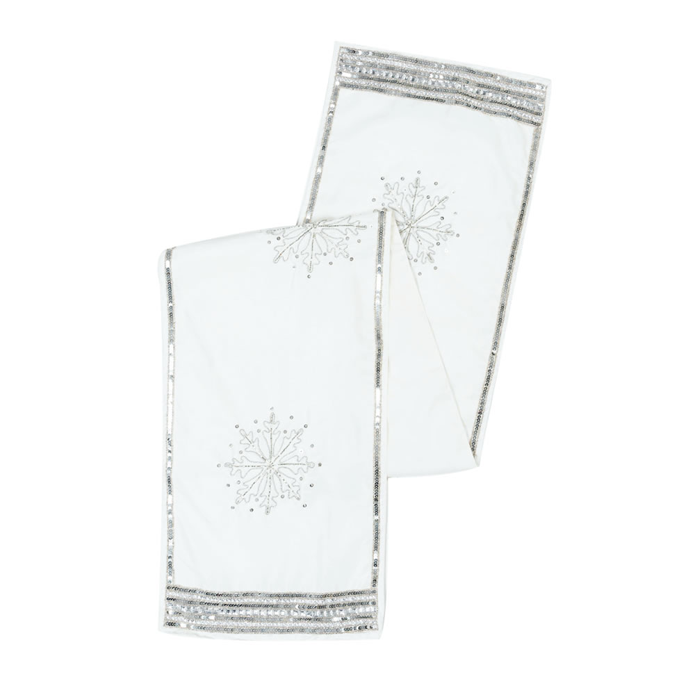Pure White Polysilk Dupioni Sequin Beaded Snowflake Decorative Christmas Table Runner