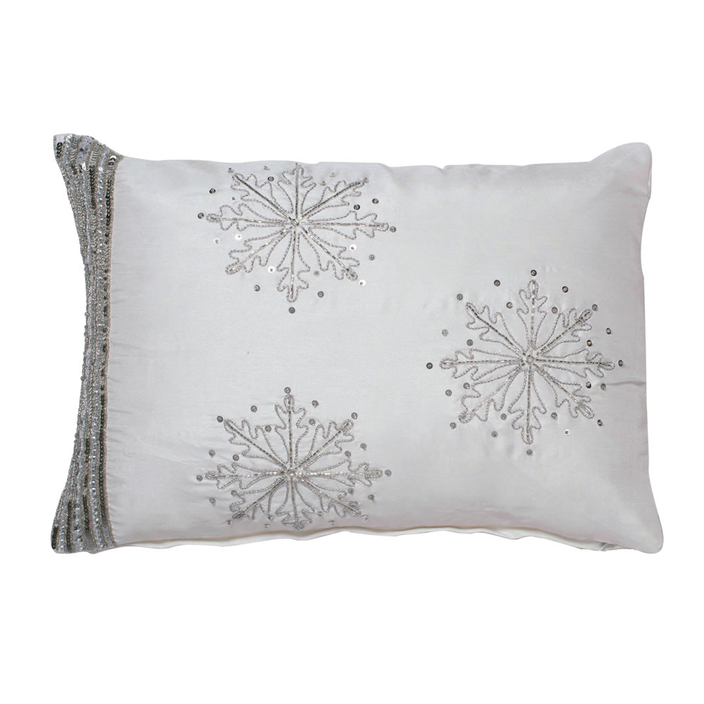 20 Inch Pure White Sequin Beaded Snowflake Luxurious Christmas Pillow