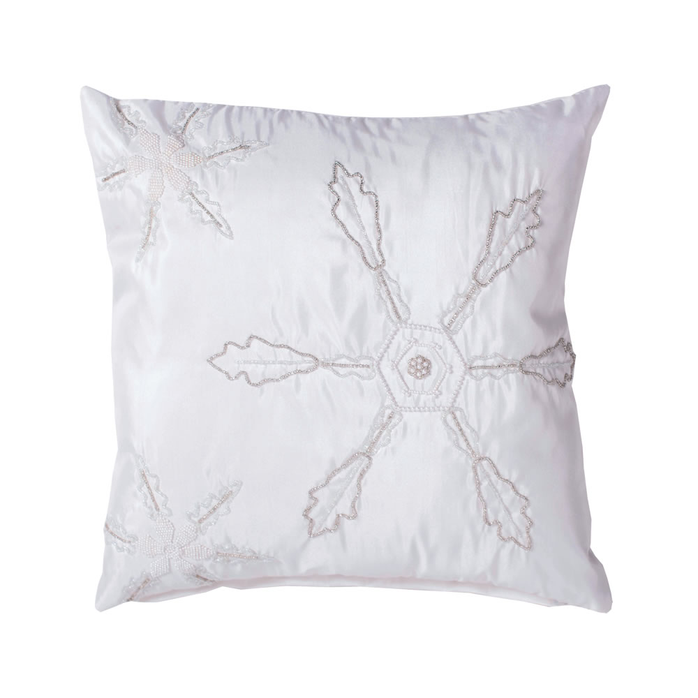 18 Inch Pure White Pearl Beaded Snowflake Luxurious Christmas Pillow