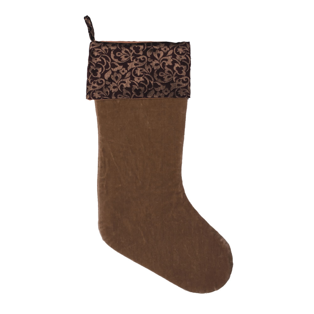 Brown Brocade and Plush Velvet Brilliance Decorative Christmas Stocking