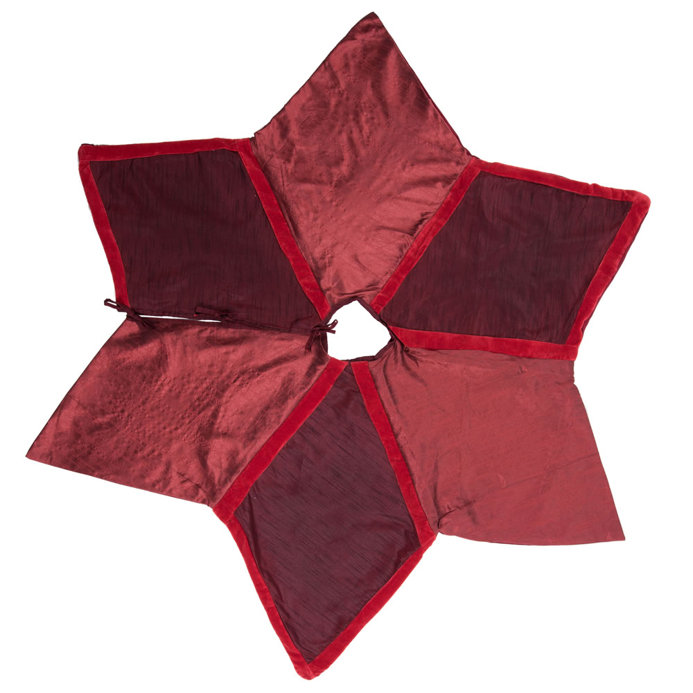 60 Inch Two Tone Burgundy Polysilk Dupioni Cotton Velvet Frosted Decorative Christmas Tree Skirt