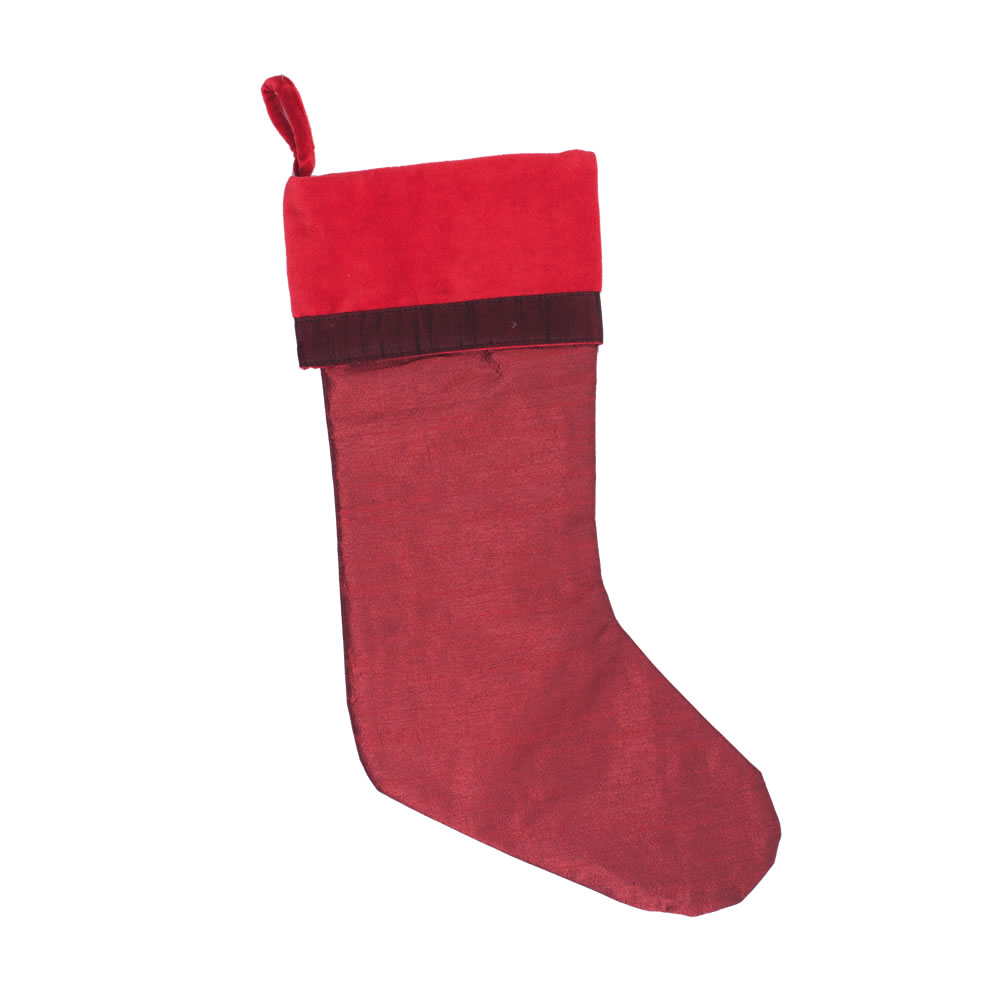 Burgundy Polysilk Dupioni Rich Cotton Velvet Frosted Decorative Christmas Stocking