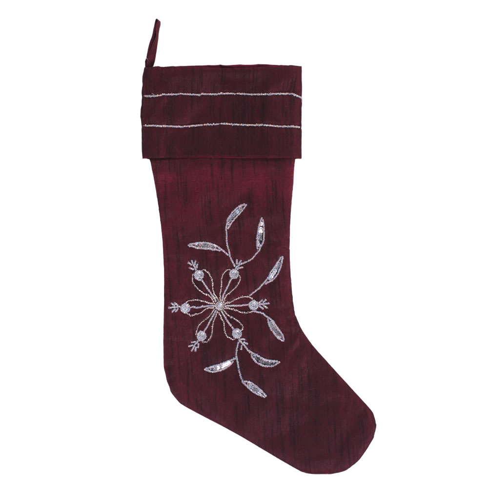 Burgundy Polysilk Dupioni Silver Bead and Sequin Sparkle Decorative Christmas Stocking