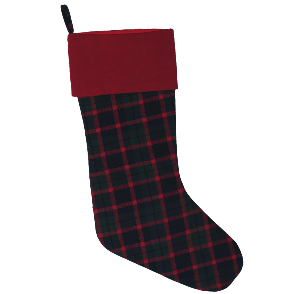 Green Red and Black Plaid Duckcloth Highlands Decorative Christmas Stocking
