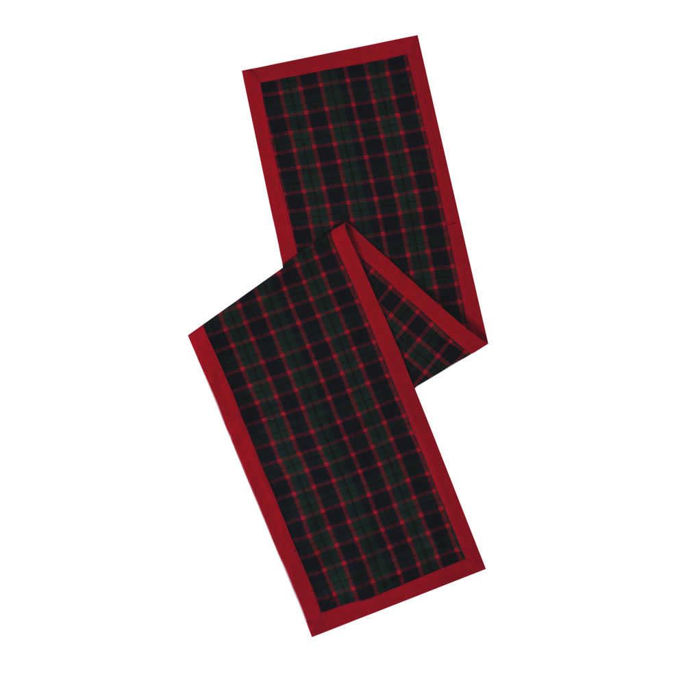 Red Green and Black Plaid Duckcloth Highlands Decorative Christmas Table Runner