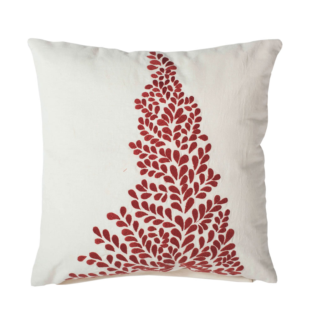 18 Inch White With Red Design Duckcloth Satin Stitch Decorative Christmas Tree Pillow