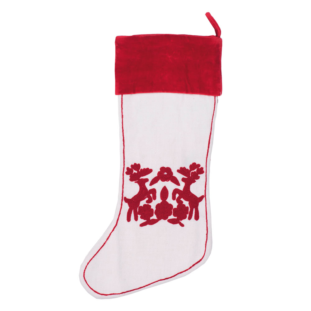 White With Red Reindeer Design Cotton Scandia Decorative Christmas Stocking