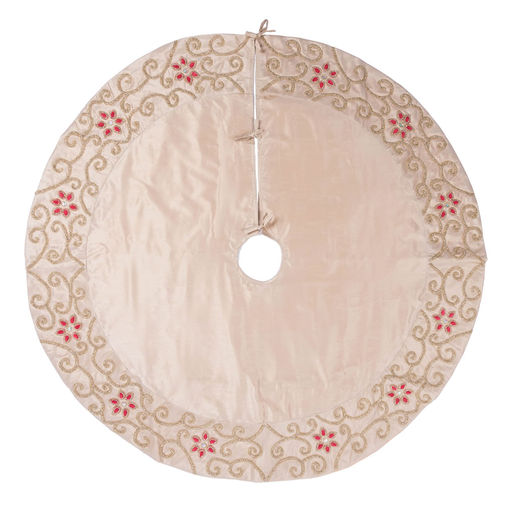 60 Inch Champagne Polysilk Dupioni Wine Cotton Velvet Regal Decorative Christmas Tree Skirt