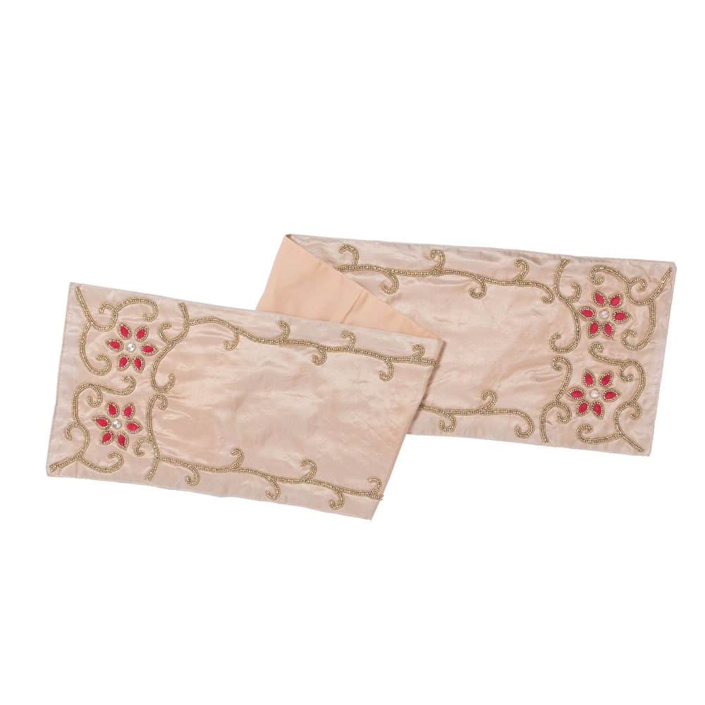 Champagne Polysilk Dupioni Wine Cotton Regal Decorative Christmas Table Runner
