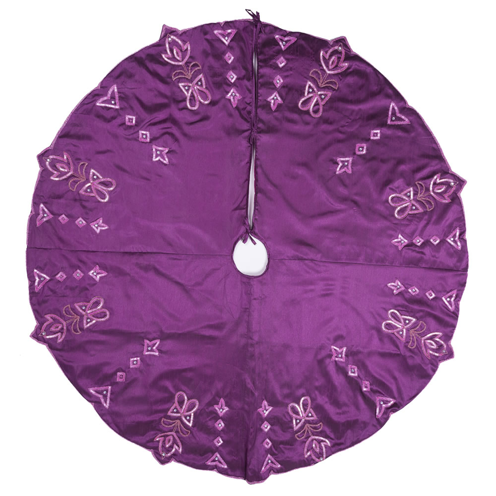 60 Inch Purple Polysilk Dupioni Crystal and Sequin Romance Decorative Christmas Tree Skirt