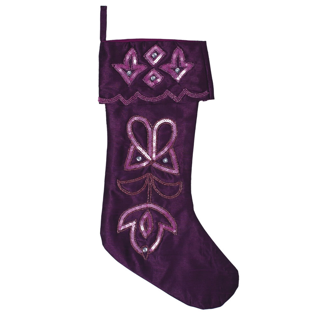 Purple Polysilk Dupioni Crystal and Sequin Romance Decorative Christmas Stocking