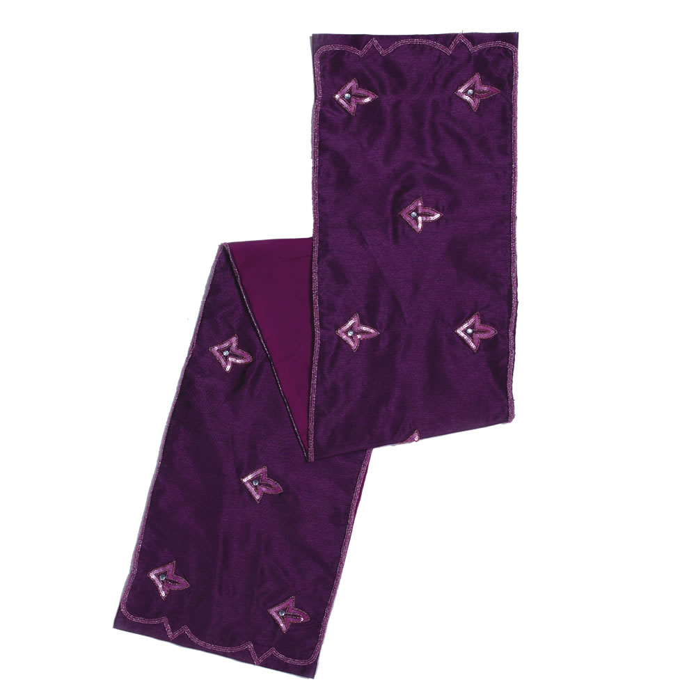 Purple Polysilk Dupioni Crystal Sequin Romance Decorative Christmas Table Runner
