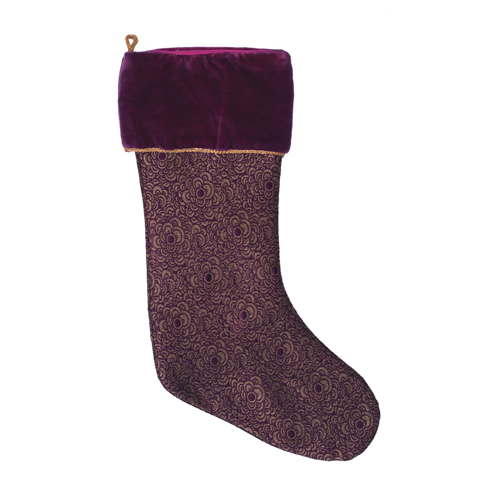 Purple and Tan Cotton Velvet Brocade Baroque Decorative Christmas Stocking
